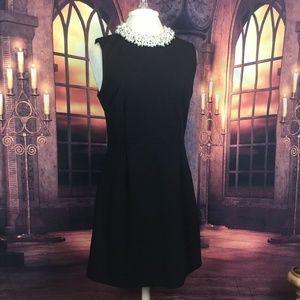 Betsy Johnson Dress Black Sleeveless Pearl Collar